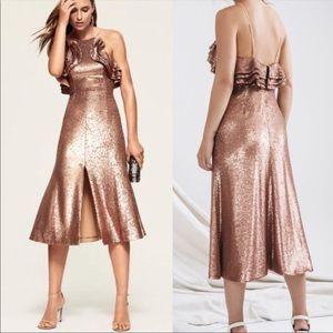 revolve c/meo illuminated copper sequin dress